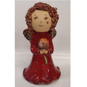 Angeliukas mergaitė didelis su gėle raudonas
