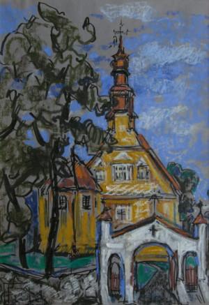 """Pastelė / Filomena Linčiūtė-Vaitiekūnienė / """"Bažnyčios 4"""" / 2014 / popierius, pastelė, flomast. / 29x20"""