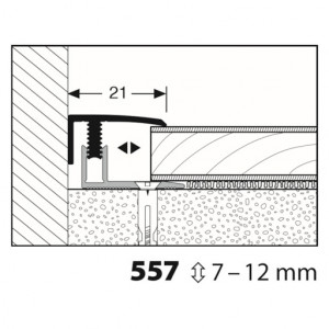Profilis aliuminis, dangų užbaigimui Mono clip 557 7-12mm, 1 m