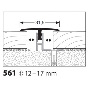 Profilis aliuminis, dangų sujungimui Mono clip 561 12-17 mm, 1 m
