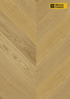 Parketlentė Weitzer parkett, natūralus ąžuolas eglutė 45°, calm, alyva, 63765, 750x125x12,2, 1 juostos, WP475 kolekcija