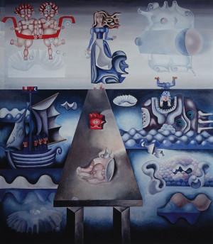 """Birutė Žilytė, Algirdas Steponavičius / """"Gyvenimo kelias"""" (sienų tapyba sanatorijoje """"Pušelė"""" Valkininkuose) / 1969-1972 / pasirašytas sk.atspaudas / 60x53"""