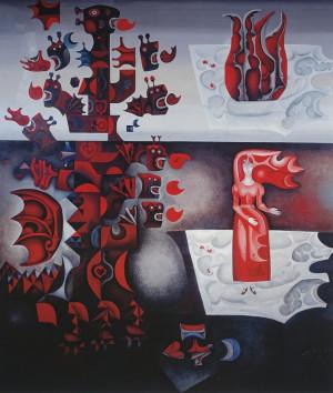 """Birutė Žilytė, Algirdas Steponavičius / """"Slibinas ir mergelė"""" (sienų tapyba sanatorijoje """"Pušelė"""" Valkininkuose) / 1969-1972 / pasirašytas sk.atspaudas / 60x52"""