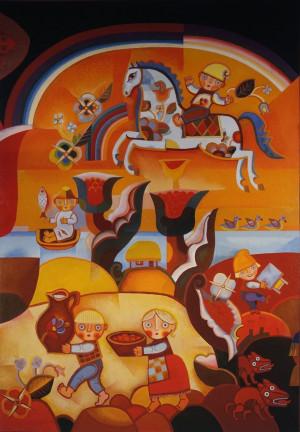 """Birutė Žilytė, Algirdas Steponavičius / """"Žirgelis"""" (sienų tapyba kavinė """"Nykštukas"""" Vilniuje) / 1964 / pasirašytas sk.atspaudas / 68x54"""