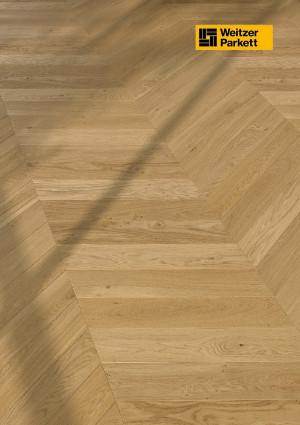 Parketlentė Weitzer parkett, natūralus ąžuolas eglutė 60°, lively, alyva, 63773, 750x125x12,2, 1 juostos, WP475 kolekcija