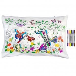 """Doodle pagalvės užvalkalas """"Drugeliai"""" 70 x 50 cm su spalvotais rašikliais"""