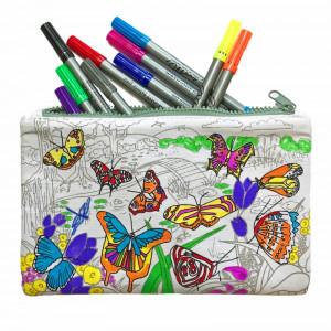 """Doodle penalas """"Drugeliai"""" 22 x 14 cm su spalvotais rašikliais"""