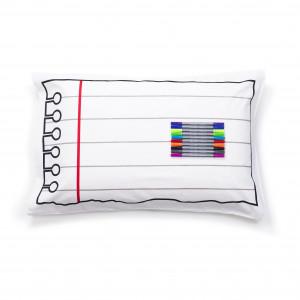 """Doodle pagalvės užvalkalas """"Užrašinė"""" 70 x 50 cm su spalvotais rašikliais"""