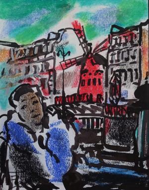 "Filomena Linčiūtė-Vaitiekūnienė / ""Portretas su Moulin Rouge"" / 2003 / popierius, mišri technika / 34,5x26,5"