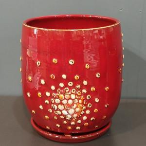 Apvalus vazonas su burbuliukais ir lėkšte vidutinis raudonas