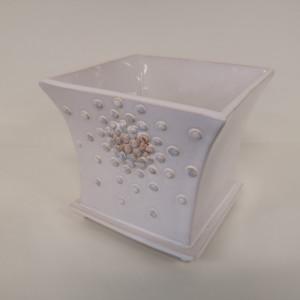 Vazonas kvadratinė taurė mažas baltas