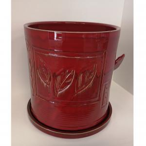 Apvalus vazonas su lėkšte didelis raudonas