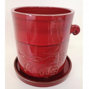 Apvalus vazonas su lėkšte vidutinis raudonas