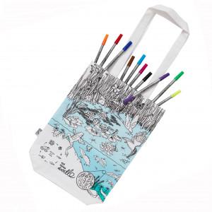 "Doodle krepšys ""Tvenkinys"" 38 x 28 cm su spalvotais rašikliais"
