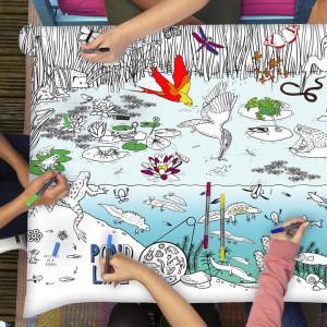 """Doodle staltiesė """"Tvenkinys"""" 130*85 su spalvotais rašikliais"""