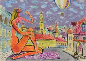 """Ričardas Zdanavičius / """"Labas rytas, Užupi"""" / 2012 / popierius, tušas, aliejiniai pieštukai, akrilas, koliažas / 41x57"""