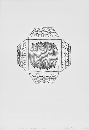 """Rimtautas Vincentas Gibavičius / """"Pilnaties langai VIII"""" / 1970 / grafika, cinkotipija / 64x45"""