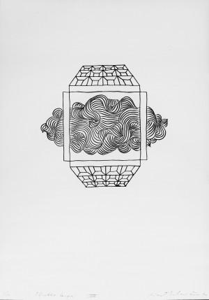 """Rimtautas Vincentas Gibavičius / """"Pilnaties langai XVIII"""" / 1970 / grafika, cinkotipija / 64x45"""