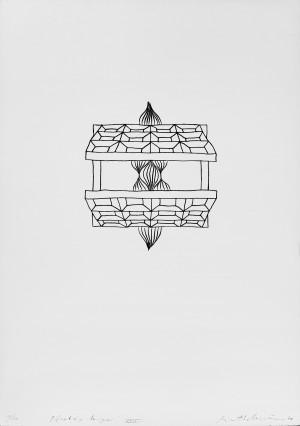 """Rimtautas Vincentas Gibavičius / """"Pilnaties langai XXIV"""" / 1970 / grafika, cinkotipija / 64x45"""