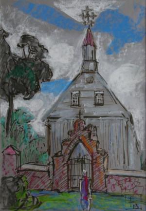 """Filomena Linčiūtė-Vaitiekūnienė / """"Bažnyčios 1"""" / 2013 / popierius, pastelė, flomast. / 29x20"""