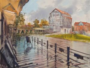 "Sergiy Lysyy / ""Klaipėda po lietaus"" / 2017 / popierius, akvarelė / 49x65"