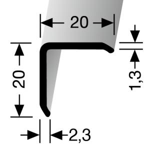 Profilis aliuminis, sienų kampų apdailai BEST 271 U (nepragręžta), 2,5 m