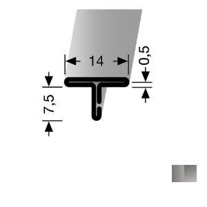 Profilis nerūdijančio plieno, dangų sujungimui EB 290 (nelenkiamas), 2,5 m