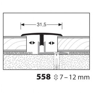 Profilis aliuminis, dangų sujungimui Mono clip 558 7-12mm, 1 m