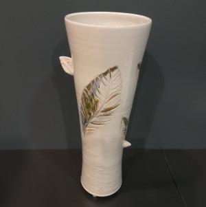 Vaza taurė su lapais didelė balta