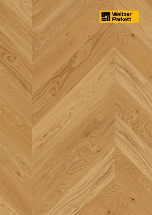 Parketlentė Weitzer parkett, natūralus ąžuolas eglutė 45°, lively, alyva, 63766, 750x125x12,2, 1 juostos, WP475 kolekcija