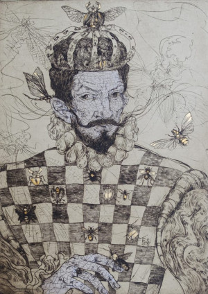"""Edita Suchockytė / """"Karalius""""/ 2015 / ofortas / 64,5x47"""