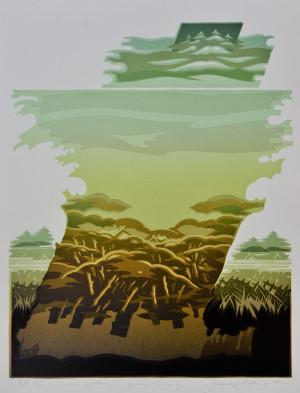 """Gerardas Šlektavičius / """"Viršūnės ir gelmės II"""" / 1987 / spalvotas lino raižinys / 53x42"""