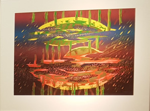 """Gerardas Šlektavičius / """"Auksinis spindėsys"""" / 1998 / spalvotas lino raižinys / 49,5x65"""