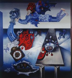 """Birutė Žilytė, Algirdas Steponavičius / """"Vandenio žvaigždynas"""" (sienų tapyba sanatorijoje """"Pušelė"""" Valkininkuose) / 1969-1972 / pasirašytas sk.atspaudas / 60x55,5"""