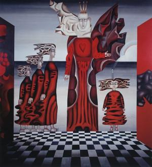 """Birutė Žilytė, Algirdas Steponavičius / """"Eglė žalčių karalienė"""" (sienų tapyba sanatorijoje """"Pušelė"""" Valkininkuose) / 1969-1972 / pasirašytas sk.atspaudas / 60x55"""