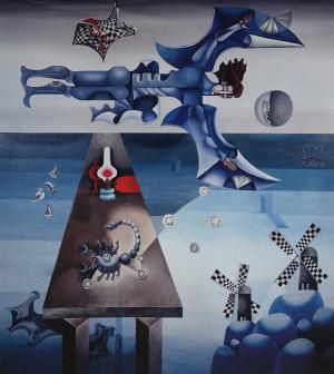 """Birutė Žilytė, Algirdas Steponavičius / """"Ikaras"""" (sienų tapyba sanatorijoje """"Pušelė"""" Valkininkuose) / 1969-1972 / pasirašytas sk.atspaudas / 60x54"""