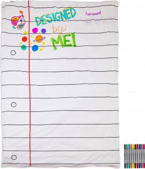 Doodle anklodės užvalkalas 140 x 200 cm su spalvotais rašikliais