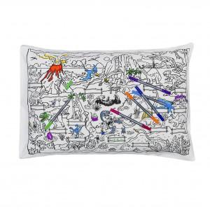 "Doodle pagalvės užvalkalas ""Dinozaurai"" 70 x 50 cm su spalvotais rašikliais"