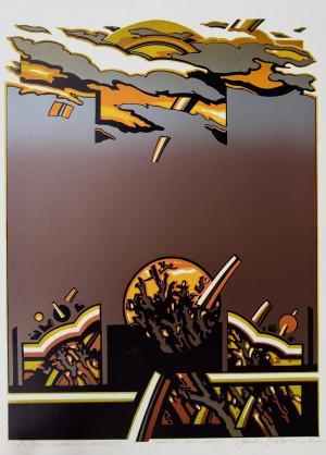 """Gerardas Šlektavičius / """"Sidabrinės versmės II"""" / 1983 / spalvotas lino raižinys / 56x41"""