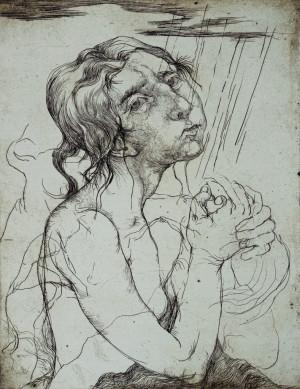 """Ofortas /Edita Suchockytė / """"Meldžiasi"""" / 1997 / ofortas / 64,5x50"""