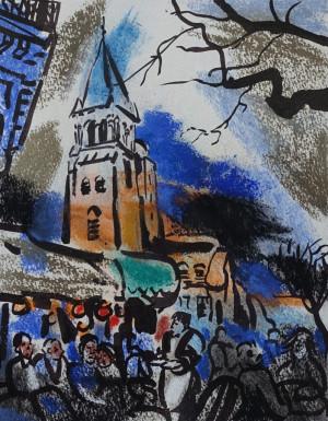 """Filomena Linčiūtė-Vaitiekūnienė / """"Cafe de Fluore"""" / 2003 / popierius, mišri technika / 34,5x26,5"""