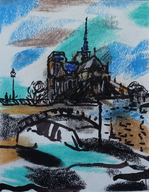 """Filomena Linčiūtė-Vaitiekūnienė / """"Sena prie Notre Dame II"""" / 2003 / popierius, mišri technika / 34,5x26,5"""