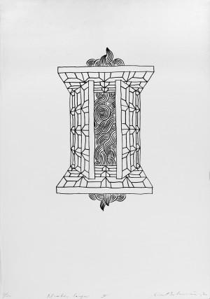 """Rimtautas Vincentas Gibavičius / """"Pilnaties langai IV"""" / 1970 / grafika, cinkotipija / 64x45"""