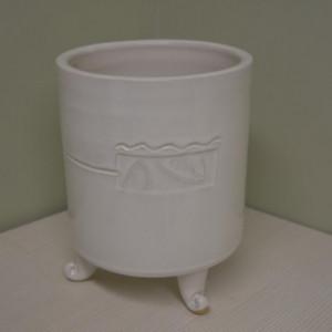 Įdėklas apvalus cilindras ant kojelių vidutinis baltas