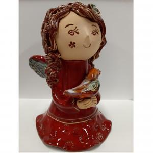 Angeliukas mergaitė su paukšteliu raudona