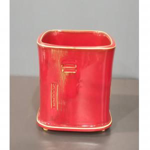 Kvadratinis vazonas didelis raudonas