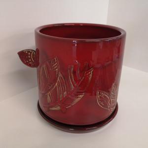 Apvalus vazonas su lėkšte mažas raudonas