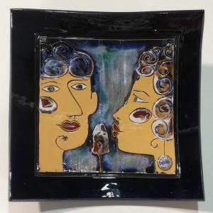 Dekoratyvinė lekštė didelė su dviem veidais mėlyna