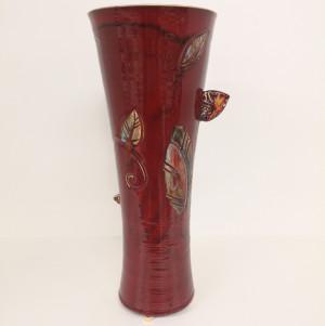 Vaza taurė su lapais didelė raudona