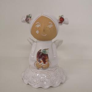 Angeliukas baltas mergaitė su obuoliuku